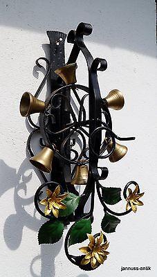 alte Türglocke Schelle Glocken handgeschmiedet Eisen Messing 60er schöner Klang