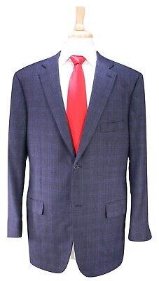 ISAIA Napoli Recent Charcoal Black Windowpane 2-Btn Fleece Wool Suit 42L
