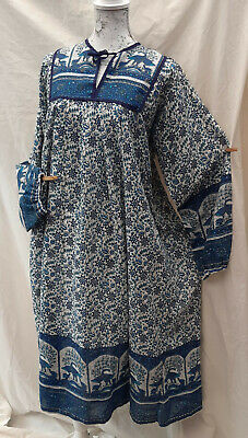 Unbranded Vintage cotton Indian dress Retro Size L blue bird print As Phool Made