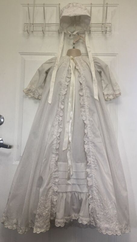 Vintage Baby Baptism Gown Christening Dress 3 Pc Broderie Anglaise Embroidered