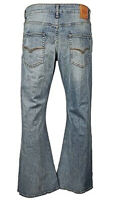 Men's LCJ Denim Flare Stretch Indie Jeans 70s Washed Bell Bottoms LC16 All Sizes Stretch Denim Flare Jeans
