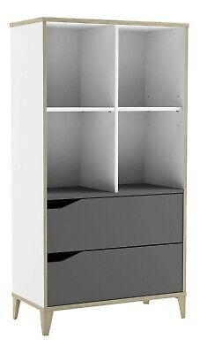 Libreria estanteria Genius 2 cajones 4 huecos blanco y gris dormitorio 130x70x35
