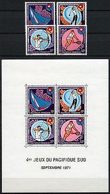 Frz. Polynesien Polynesia 1971 Sportspiele Sport Golf Tennis 136-9 Block 2 MNH
