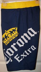 Corona-Extra-Beer-Navy-Blue-Board-Swim-Trunks-Shorts-Mens-Size-36-NWT