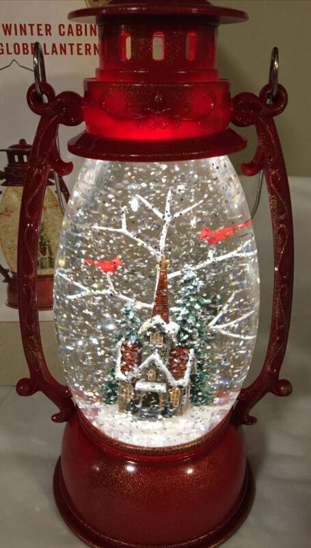 "Cracker Barrel Winter Cabin Glitter Globe Lantern Light Up Snowy Feature ~9.5"" T"