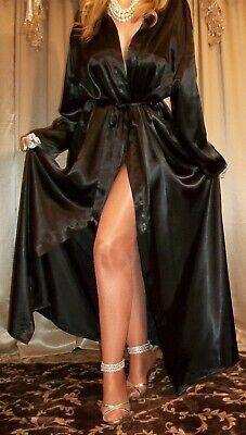 Vtg Style Black Shiny Long Sleeve Satin Slip Wrap Dressing Robe Queen 2X 46 Plus