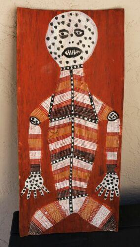 """A Large Excellent Australian Aboriginal Bark Painting - Mimi Figure 12""""w x 25""""h"""