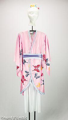 Kimono Child Japanese Princess Costume Pk & Bl 4 Pc Robe Skirt Obi & Headpiece M