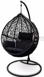 Outdoor Swing Hanging Egg/ Pod Chair - Black Wicker and Cushions Tullamarine Hume Area Preview