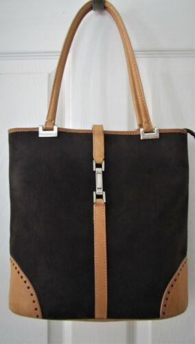HIROKO KOSHINO Femme Brown Tan Leather Trim Shoulder Bag Tote Purse