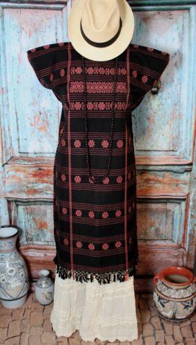 Handwoven Huipil Dress Kaftan Black & Peach Amuzgo Oaxaca Mexico Cowgirl Hippie