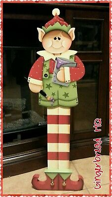 Hand Painted Wooden Standing Boy Elf Porch Greeter,  Christmas, Holiday Season