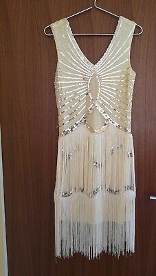 kleid kostüm 20er jahre cremegold Gr. 38 flapper - Gold Kostüm Kleid