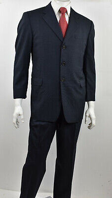 HICKEY FREEMAN Navy Blue Mini Grid Check Wool Classic Fit BOARDROOM Suit 42S