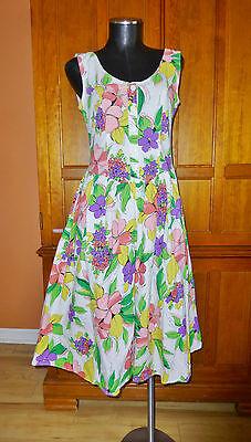 80s Dresses | Casual to Party Dresses Vtg 80s Floral Print Cotton Open Back BOW Boho Garden Tea Party DRESS sz 7/8 $46.00 AT vintagedancer.com