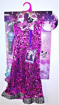 Mädchen   Kostüm  Pop Star Kleid  mit Zubehör - Mädchen Pop Star Kostüm