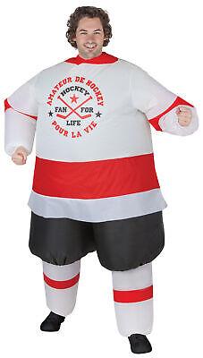 Aufblasbar Hockey Spieler Erwachsene Kostüm Lustig Halloween Gemmy (Lustige Hockey Kostüm)