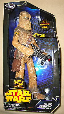 "DISNEY STORE STAR WARS TALKING CHEWBACCA 15.5"" FIGURE 15+ PHRASES / LIGHTS- NEW!"