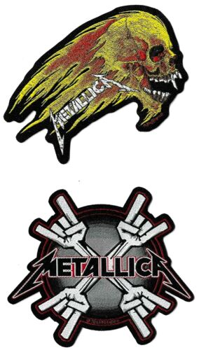 Metallica Metal Horns + Flaming Skull Patch Lot [UK Import] Die-Cut Patches