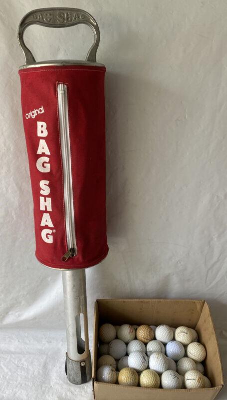 """"""" BAG SHAG """" - Aluminum Shagger / Pick Up Golf Balls Red With 47 golf Balls"""