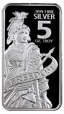 Statue of Freedom 5 Troy oz. .999 Fine Prooflike Silver Bar SKU44150