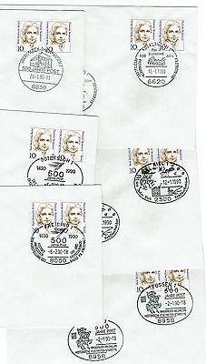 Bund: 6 Briefe mit Sonderstempel , aus 1990 auf Umschlag mit 2x10 pf