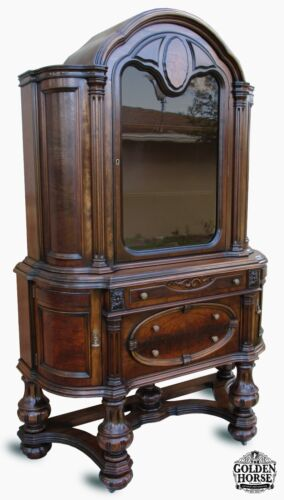 Rare Antique Jacobean English Style Walnut Hutch China Cabinet Early 1900