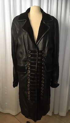 Once Upon A Time Hook Pirate Goth Steampunk Black Leather Trench Coat Jacket SZM](Steampunk Pirate Coat)
