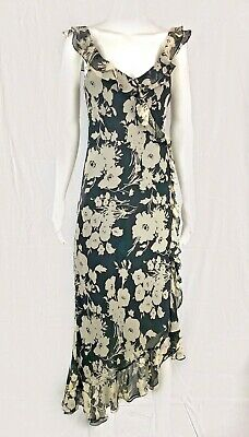 Ralph Lauren LRL Silk Floral Ruffle Dress Sz 8 S To M Feminine Asymmetrical Hem