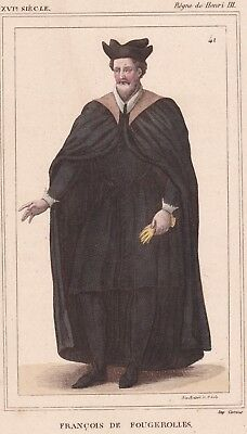 Portrait De Fougerolles Henri III Médecin Traducteur de Diogène Laërce  Porphyre