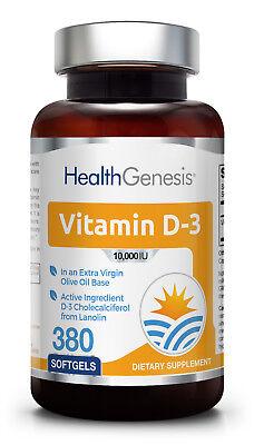 Health Genesis Vitamin D3 10000 Iu 380 Softgels