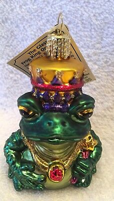 Frog King,Old World Christmas,New Collection,Blown Glass,W/Tag & Charm,Retired