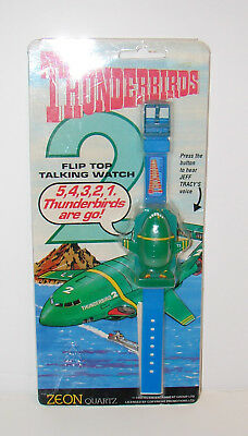 Thunderbirds 2 vintage flip top talking watch 1992 Zeon Quartz