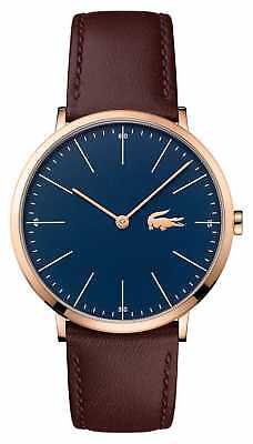 Lacoste Mens Brown Leather Strap Blue Dial Gold Case 2010871 Watch - 6% OFF!
