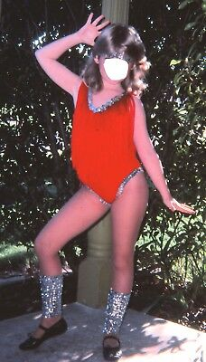 Vintage 1970s Flash Dance Red Fringe Silver Sequin Dance Costume Medium - Flashdance Outfit