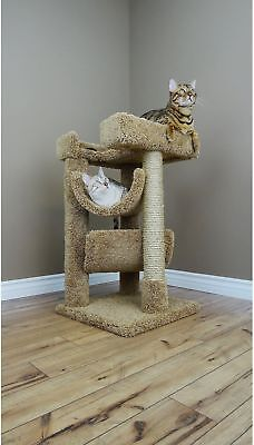 New Cat Condos Scratch And Lounge Cat Tree House Kitty Bed Brown Carpet Wood NEW