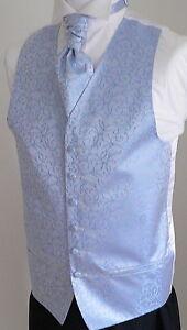 Classic-Scroll-Mens-Boys-Wedding-Waistcoat-Cravat-Set-Pale-Blue