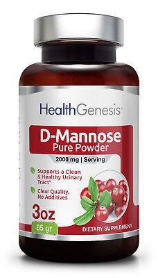 Health Genesis D Mannose Pure Powder 2000 Mg 3 Oz 85 G