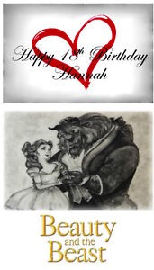 Beauty and the Beast Cake Topper Personalised A4 Edible Printed Iced Sheet