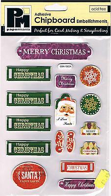 Papermania chipboard shapes Santa Christmas joy Xmas adhesive tags snowflakes
