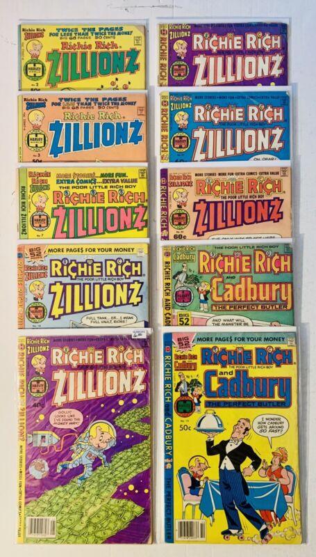 Richie Rich Zillions & Cadbury Lot 10 Books Harvey Comics VG/FN