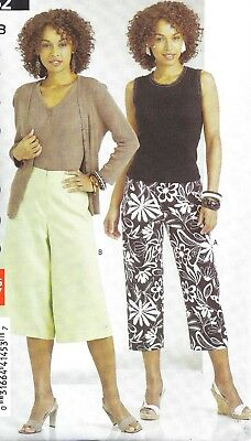 Women's Capri Pants Wide Leg Gaucho Pants Sewing Pattern UNCUT 16 18 20