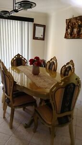 Elegant Gold dinner table with 6 chairs Baulkham Hills The Hills District Preview