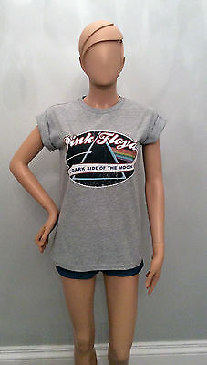 PRIMARK Ladies Official PINK FLOYD Dark Side of the Moon Rock Music Band TShirt