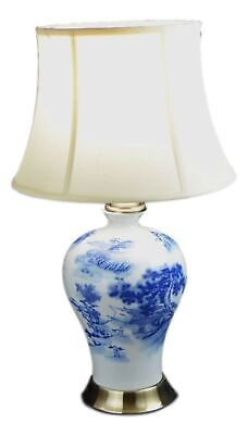 Blue and White Porcelain Temple Landscape Ginger Jar Table Lamp 24