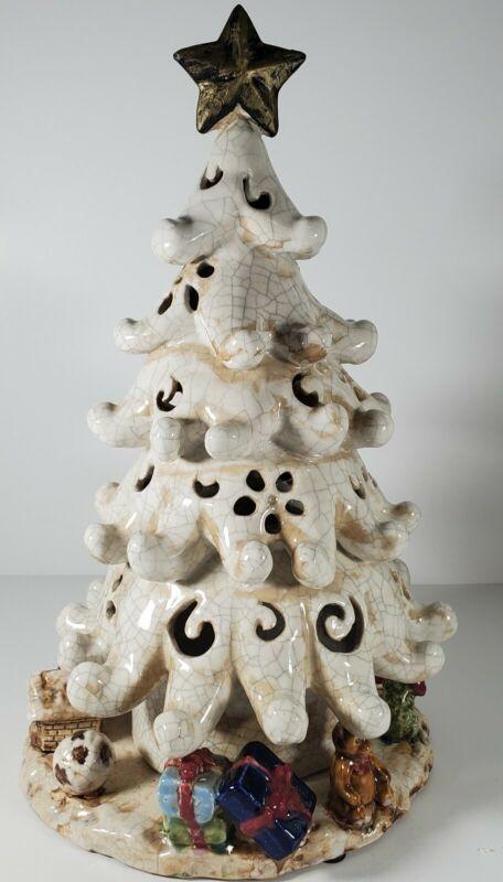 """Ivory Filigree Ceramic Clay Christmas Tree Candle Holder Toys on Base 16"""" Large"""