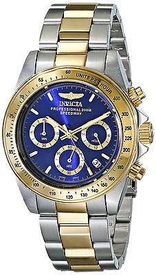 Invicta Reloj Oro Plata Hombre Gold Silver Crystal Bracelet Pulsera Watch Man