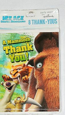 ~ ICE AGE-DAWN OF THE DINOSAURS  ~8- THANK YOU NOTES   PARTY SUPPLIES ()