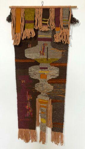 Dorothy Lamming 6. Mid Century Modern Fiber Tapestry w/ Wood Hanger
