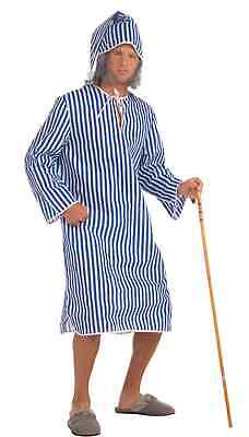 Christmas Carol Costumes (Ebenezer Scrooge Pajamas Costume Christmas Carol Striped Nightshirt Sleeping)